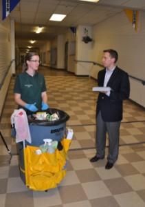 Ben Walker conducting a Progress Audit with a Light Duty Specialist at a K-12 School.